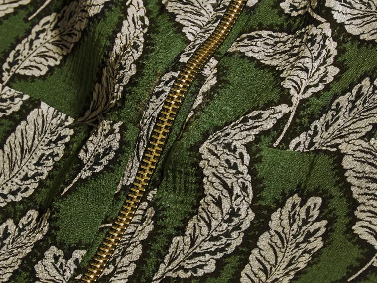Dusty green Leaf Print Silk Midi Dress - cell image 1