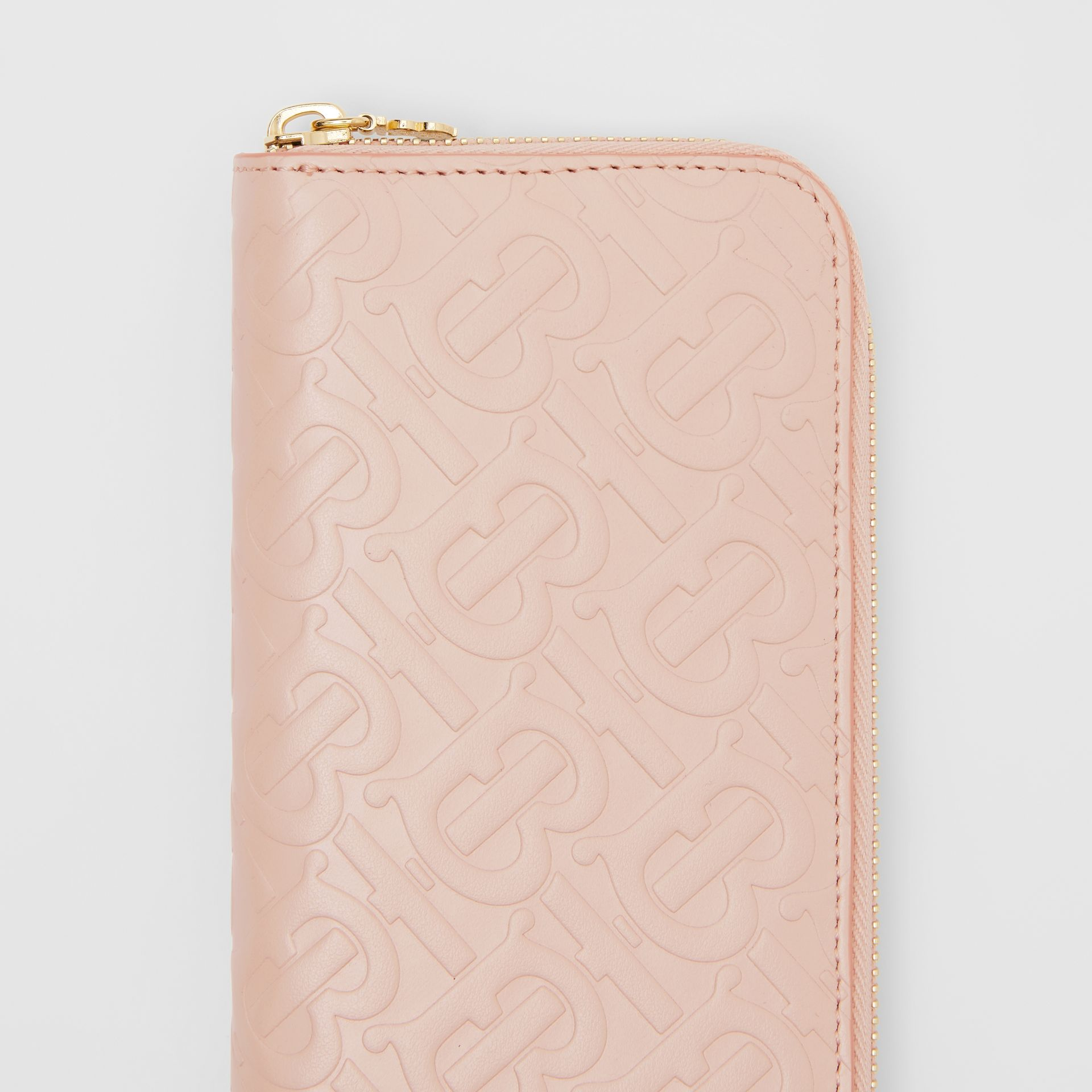 Monogram Leather Ziparound Wallet in Rose Beige - Women | Burberry - gallery image 1