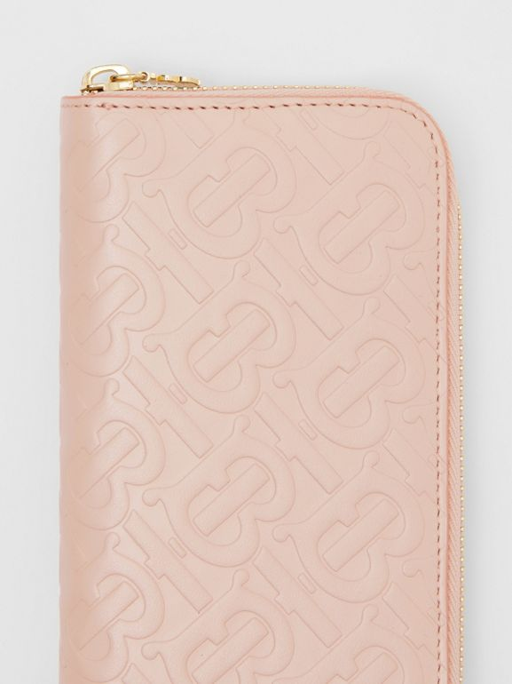Monogram Leather Ziparound Wallet in Rose Beige - Women | Burberry - cell image 1