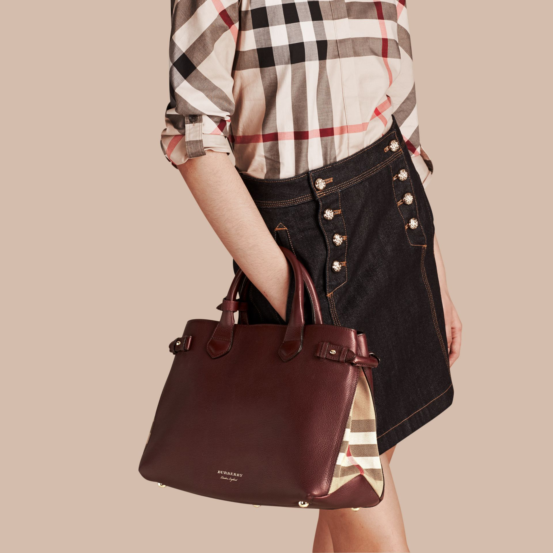 The Medium Banner in Leather and House Check in Mahogany Red - Women | Burberry United States - gallery image 3