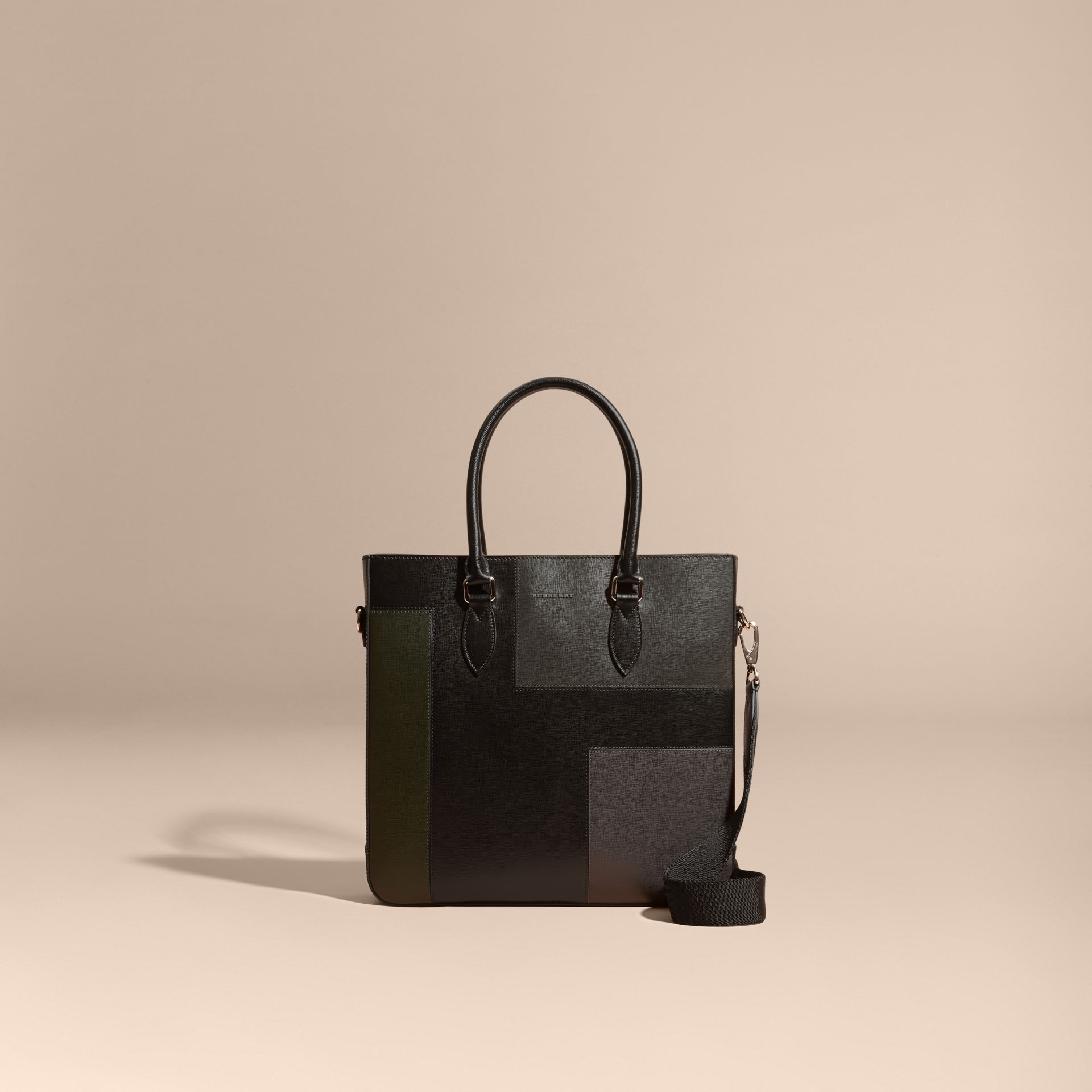 Black Patchwork London Leather Tote Bag - gallery image 9