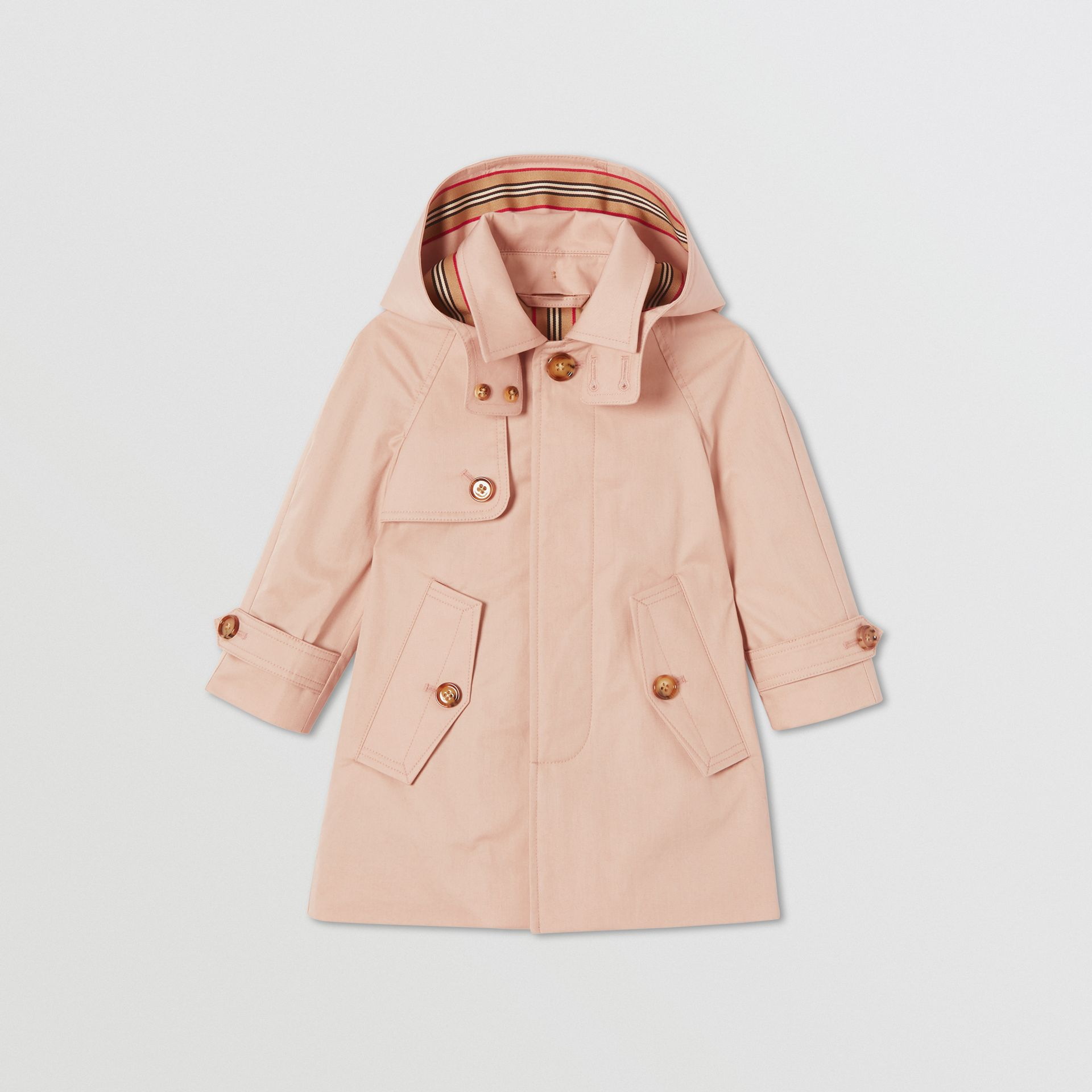 Detachable Hood Cotton Twill Car Coat in Ice Pink - Children | Burberry - gallery image 0