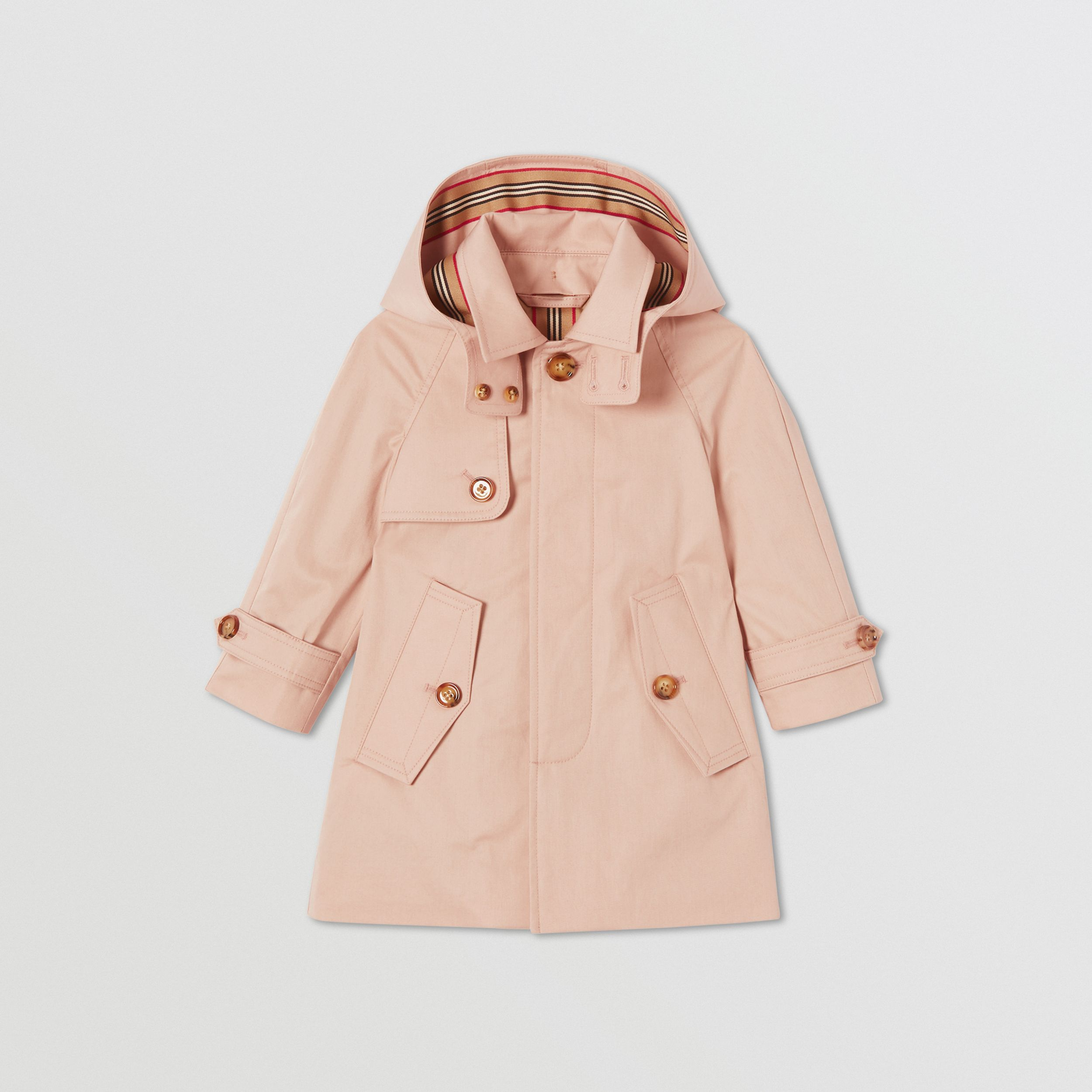 Detachable Hood Cotton Twill Car Coat in Ice Pink - Children | Burberry - 1