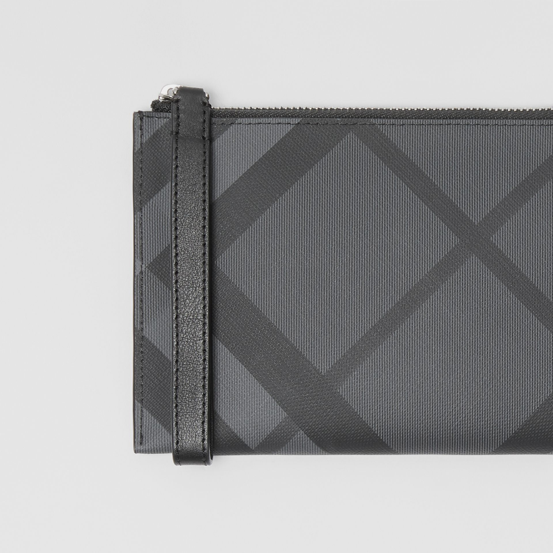 London Check and Leather Travel Wallet in Charcoal/black - Men | Burberry United States - gallery image 1