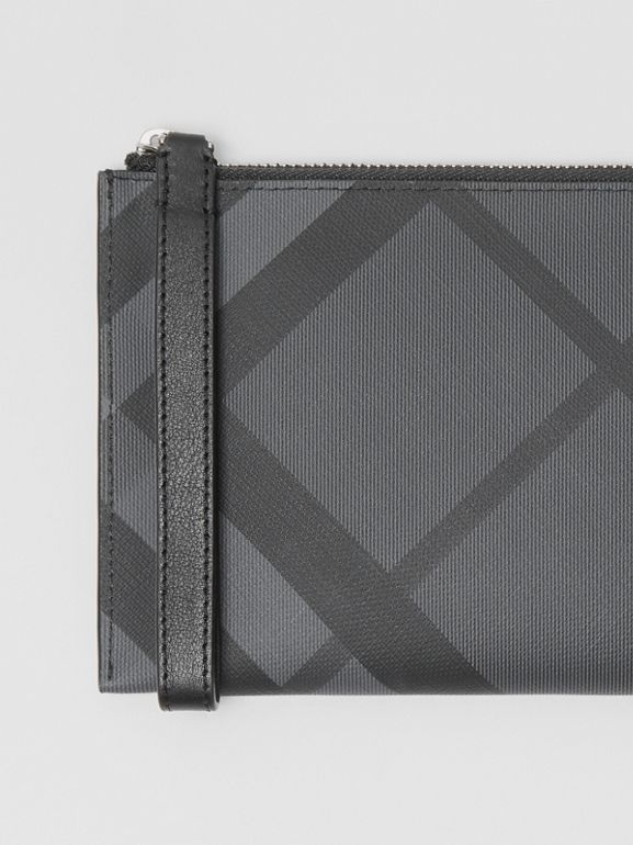 London Check and Leather Travel Wallet in Charcoal/black - Men | Burberry United States - cell image 1