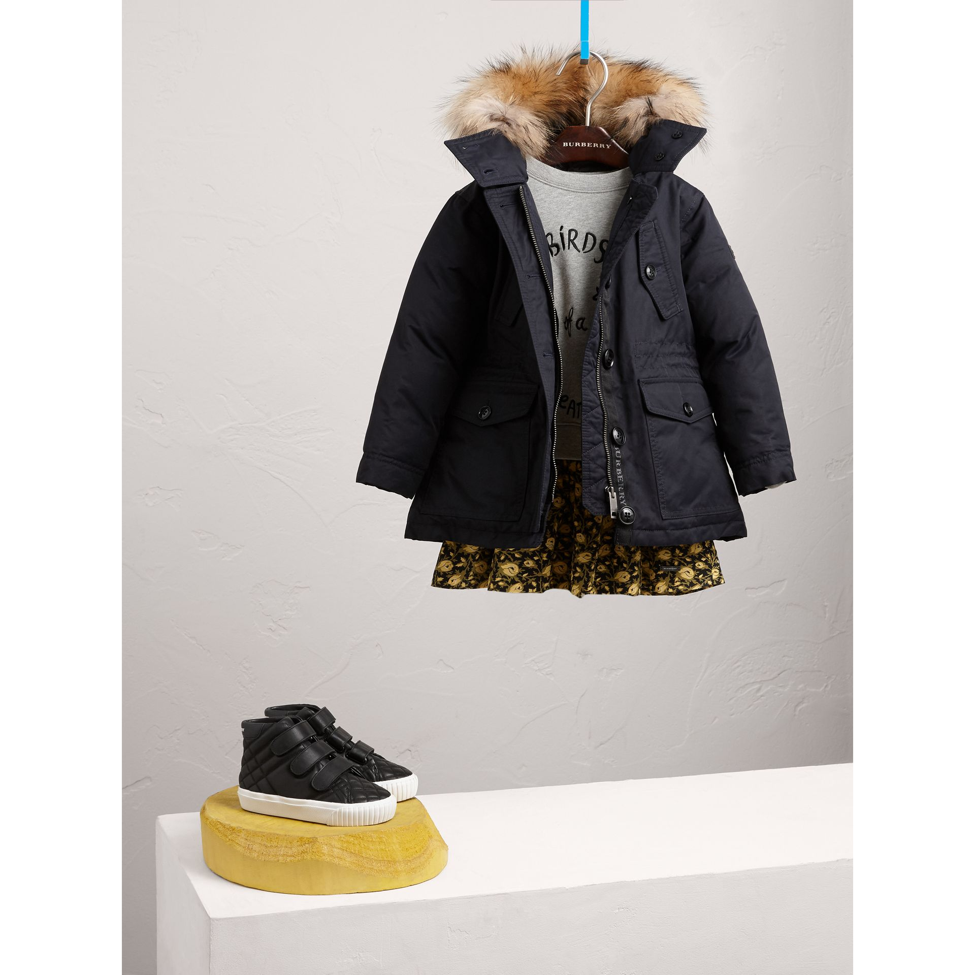 Detachable Raccoon Fur Trim Down-filled Hooded Puffer Coat in Navy - Girl | Burberry - gallery image 1