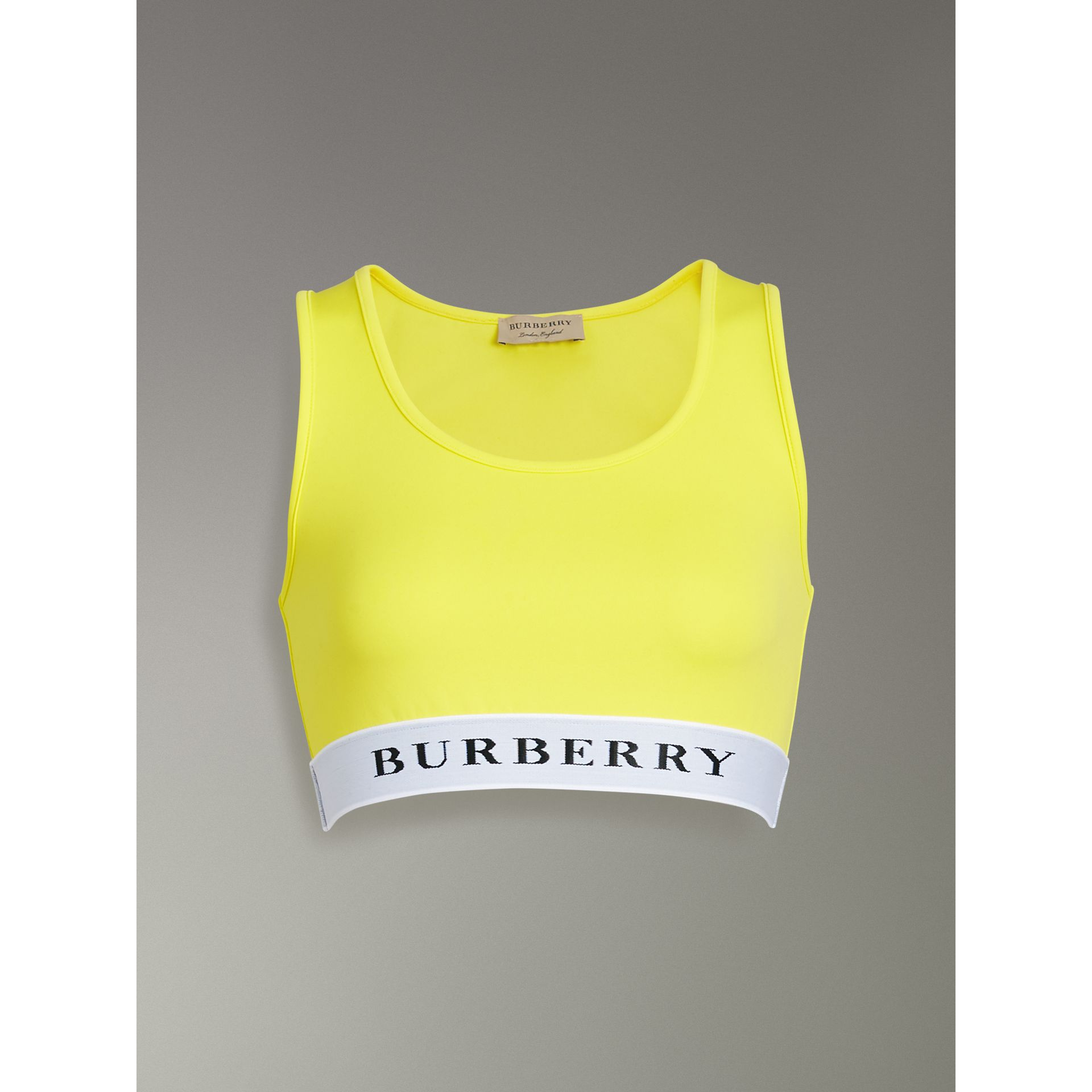 Logo Stretch Jersey Bra Top in Bright Yellow - Women | Burberry - gallery image 3