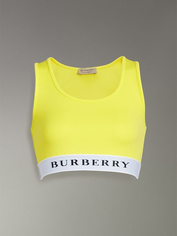 Logo Stretch Jersey Bra Top in Bright Yellow - Women | Burberry Hong Kong - cell image 3