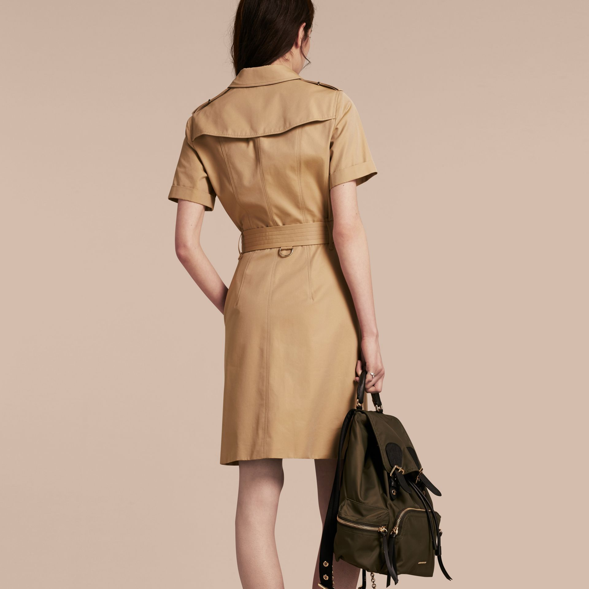 Honey Short-sleeved Cotton Gabardine Trench Dress Honey - gallery image 3