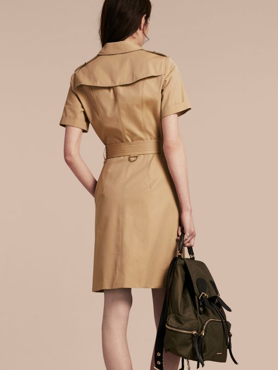 Honey Short-sleeved Cotton Gabardine Trench Dress Honey - cell image 2