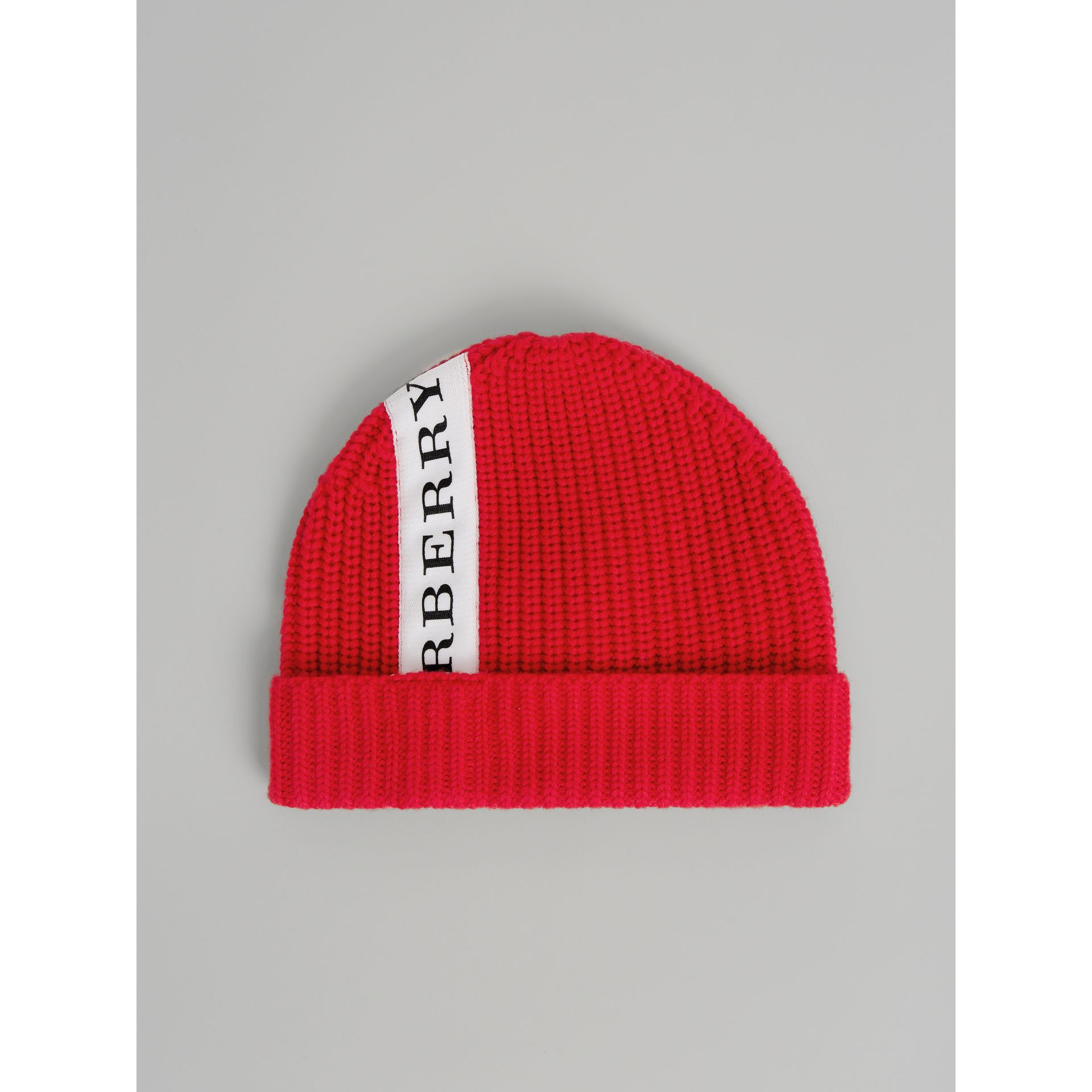 Logo Stripe Wool Turnback Beanie in Red | Burberry - gallery image 2
