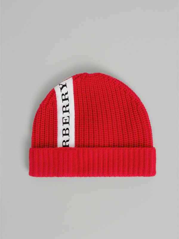 Logo Stripe Wool Turnback Beanie in Red | Burberry - cell image 2