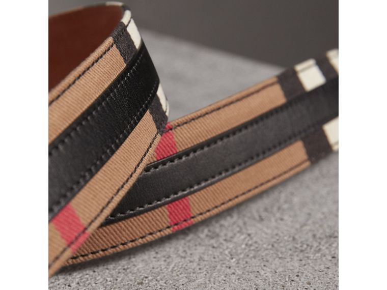 Topstitched House Check and Leather Belt in Black - Women | Burberry - cell image 1