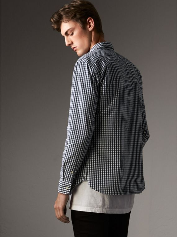 Gingham Cotton Poplin Shirt with Check Detail in Ink Blue - Men | Burberry Hong Kong - cell image 2