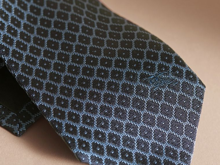 Modern Cut Silk Jacquard Tie in Navy/mineral Blue - cell image 1