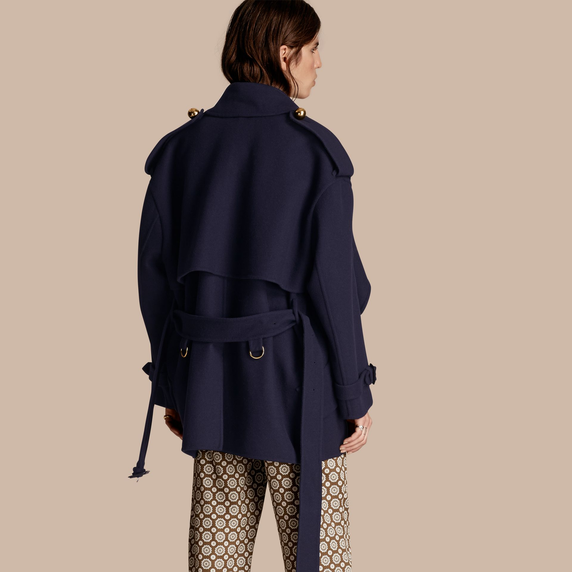 Navy Cashmere Wool Deconstructed Cropped Trench Coat - gallery image 3