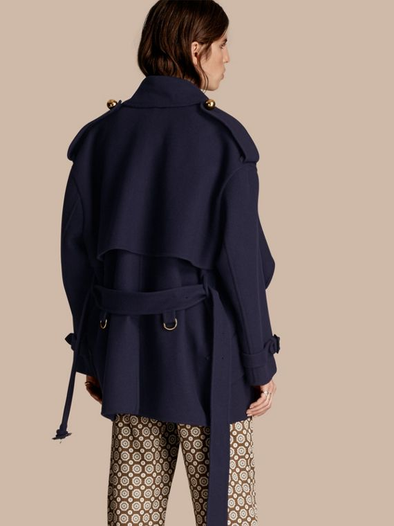 Navy Cashmere Wool Deconstructed Cropped Trench Coat - cell image 2