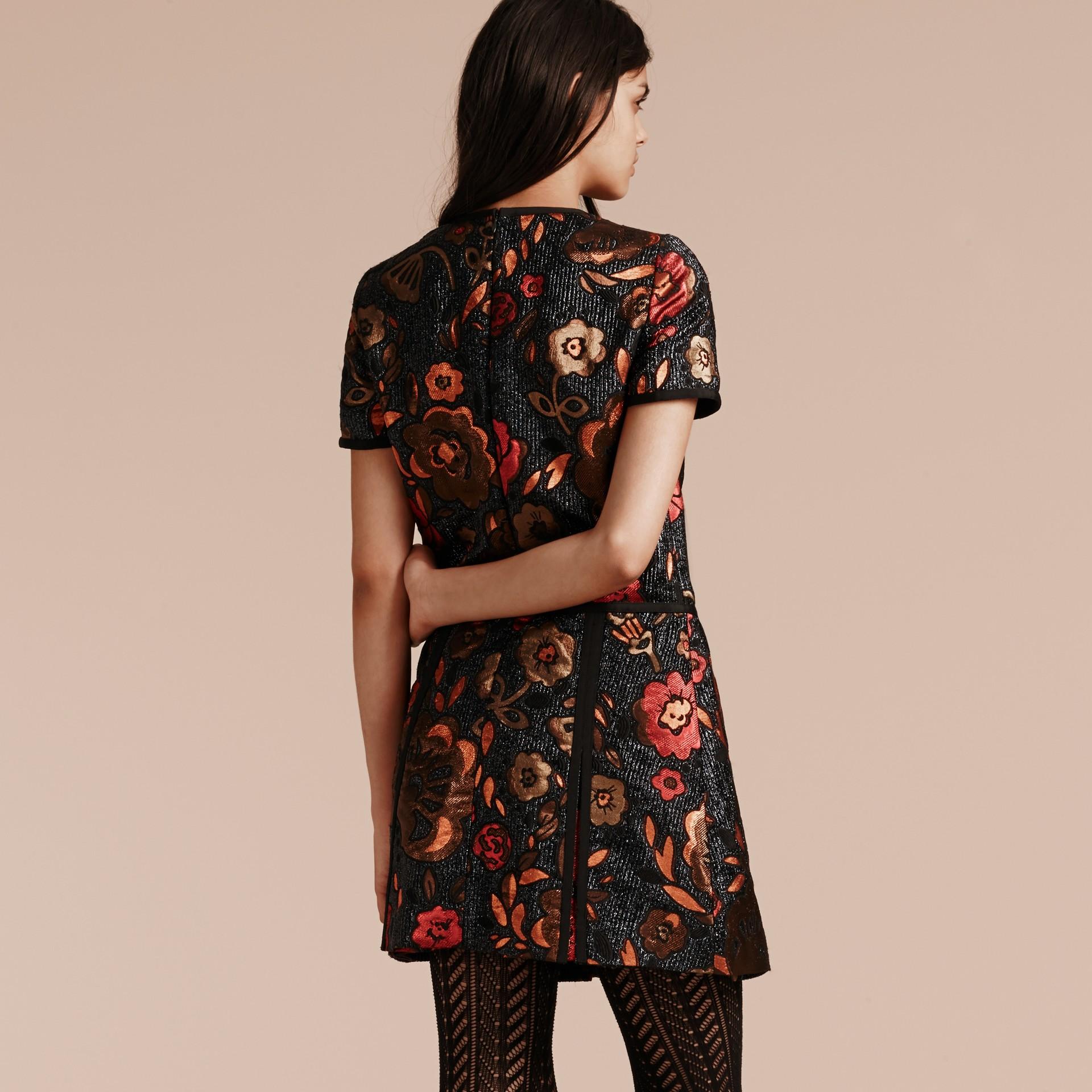 Navy Floral Jacquard T-shirt Dress - gallery image 3