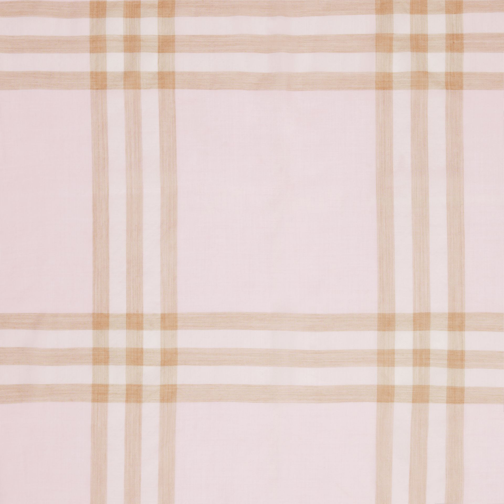 Lightweight Check Wool Silk Scarf in Alabaster | Burberry Singapore - gallery image 1
