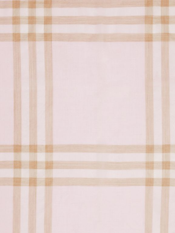 Lightweight Check Wool Silk Scarf in Alabaster | Burberry - cell image 1