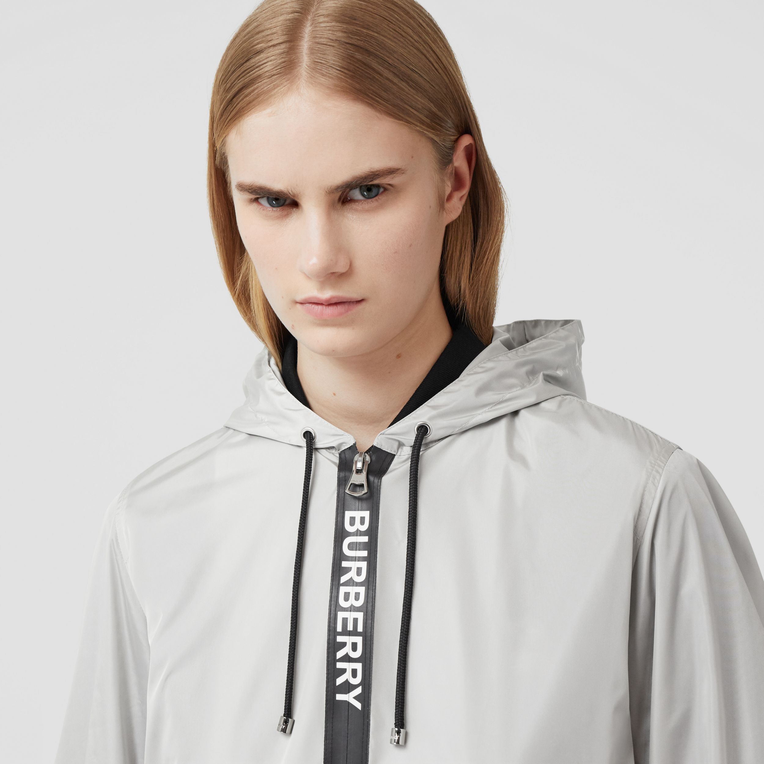 Logo Tape ECONYL® Hooded Jacket in Pale Grey - Women | Burberry - 2