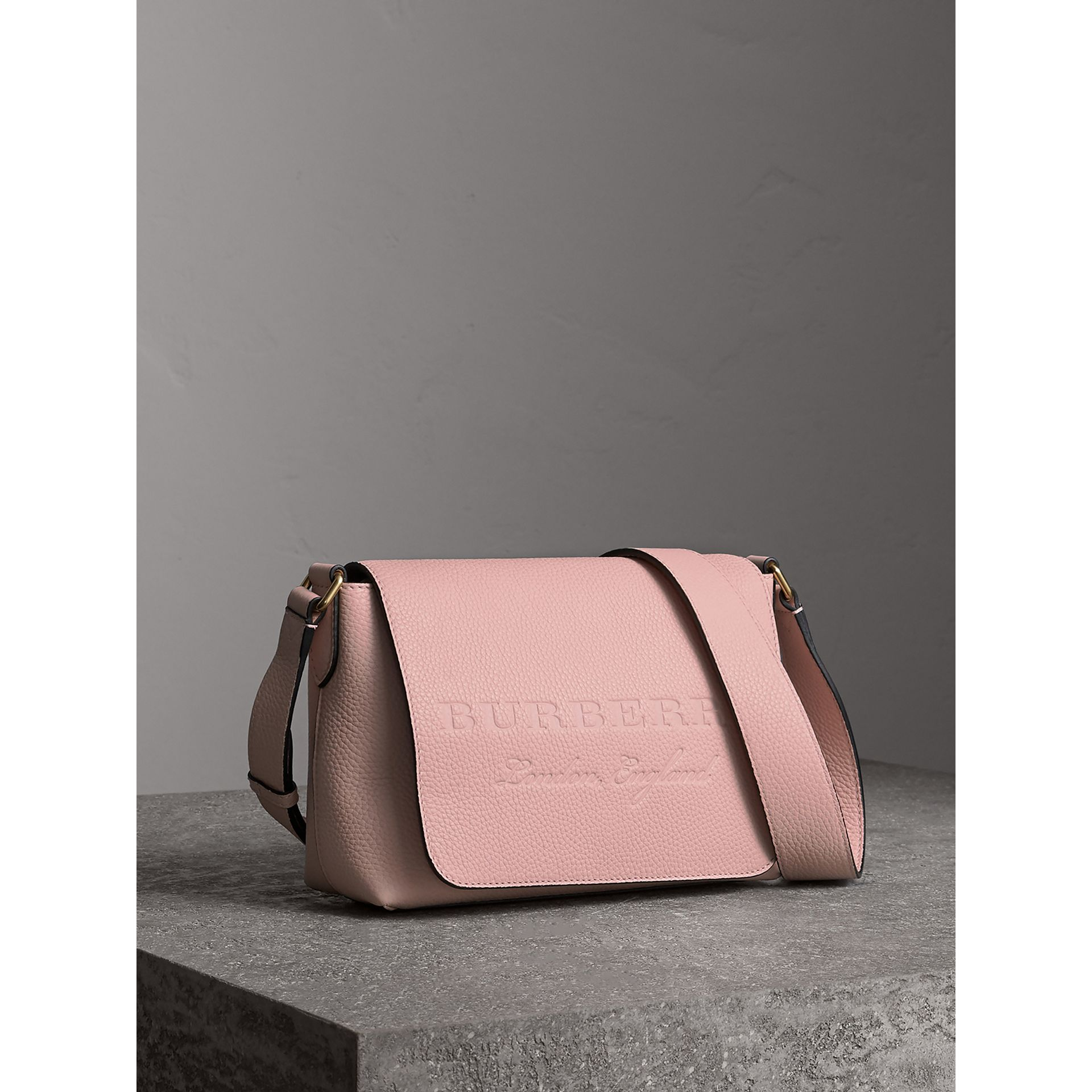 Small Embossed Leather Messenger Bag in Pale Ash Rose - Women | Burberry - gallery image 6