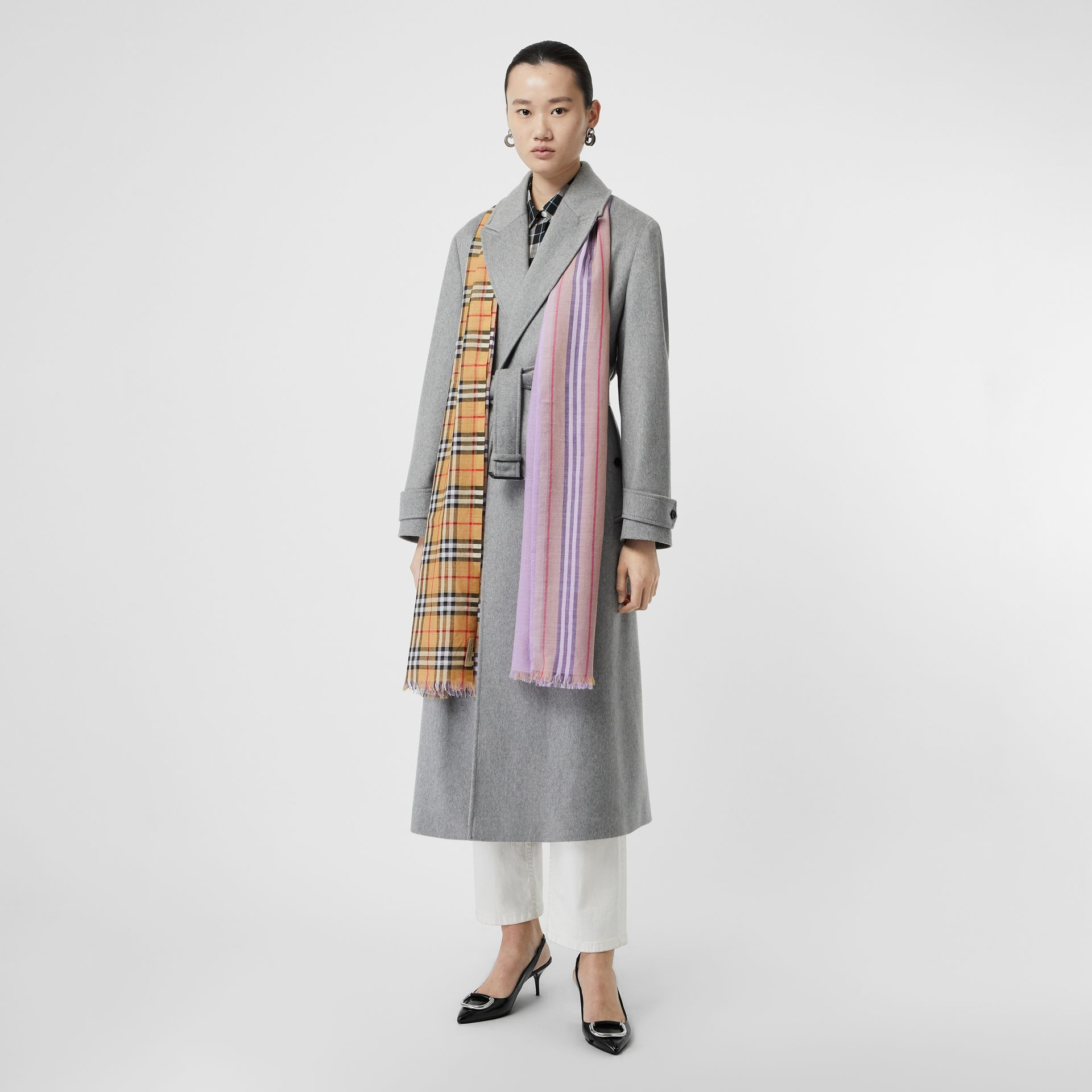 Vintage Check Colour Block Wool Silk Scarf in Lilac | Burberry - gallery image 2