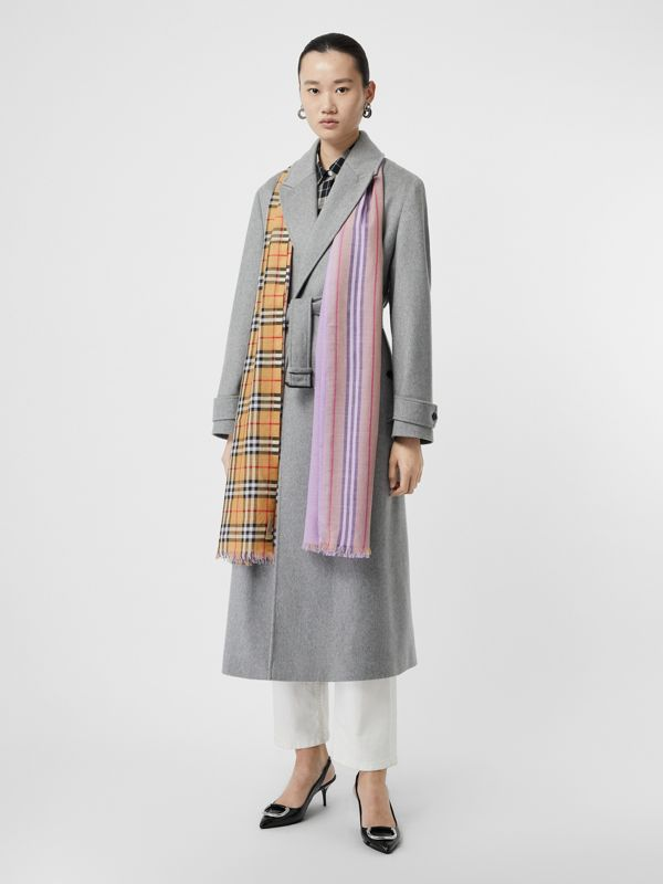 Vintage Check Colour Block Wool Silk Scarf in Lilac | Burberry - cell image 2