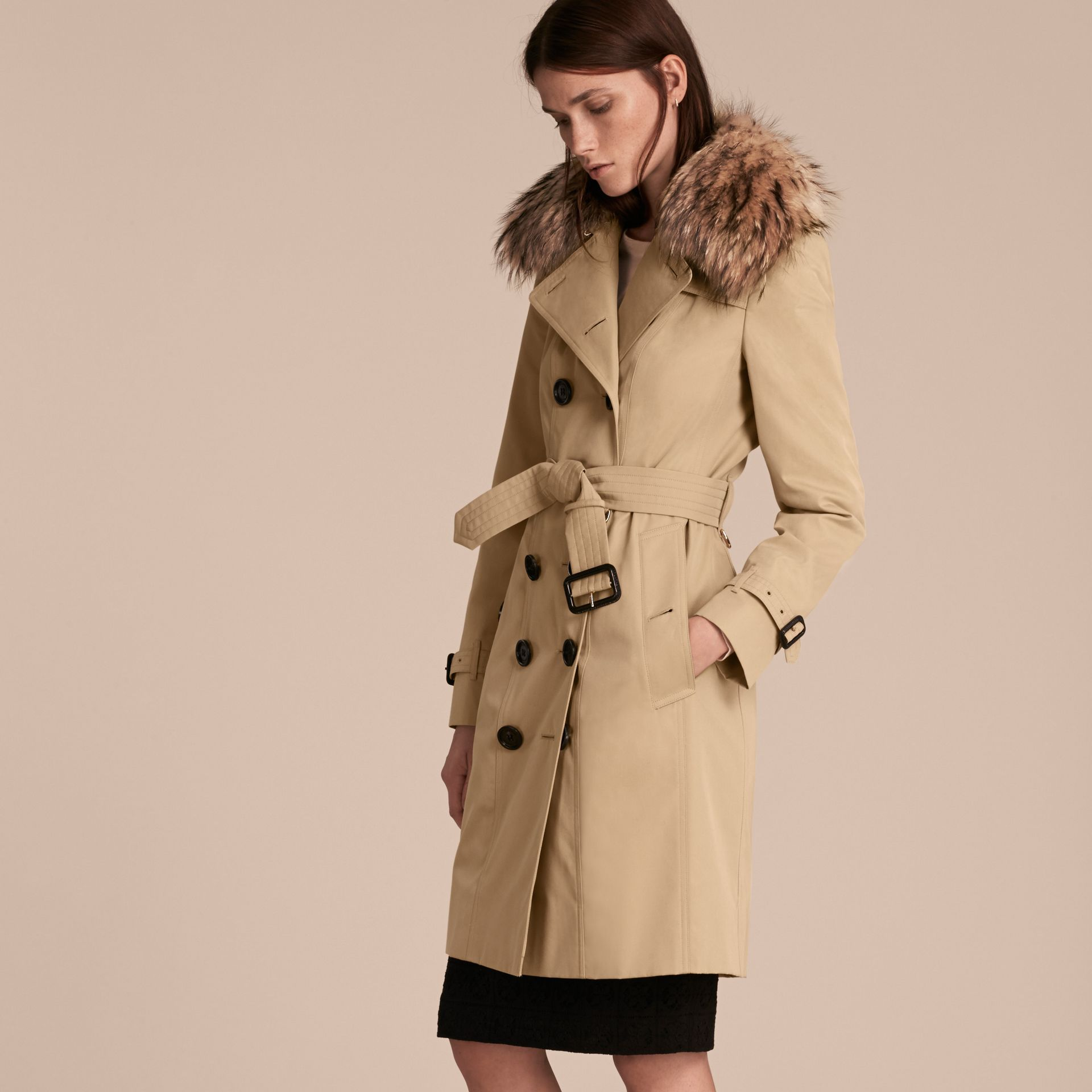 Honey Cotton Gabardine Trench Coat with Detachable Fur Trim Honey - gallery image 7