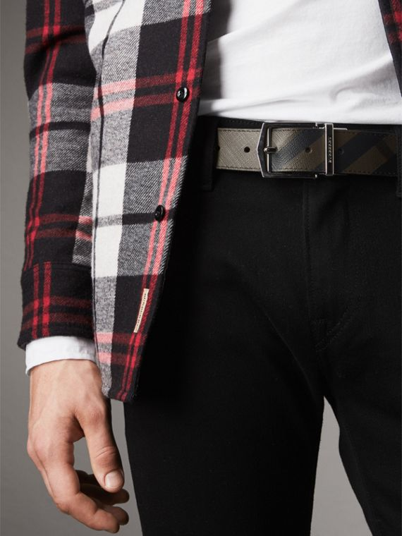 Reversible London Check and Leather Belt in Chocolate/black - Men | Burberry - cell image 2
