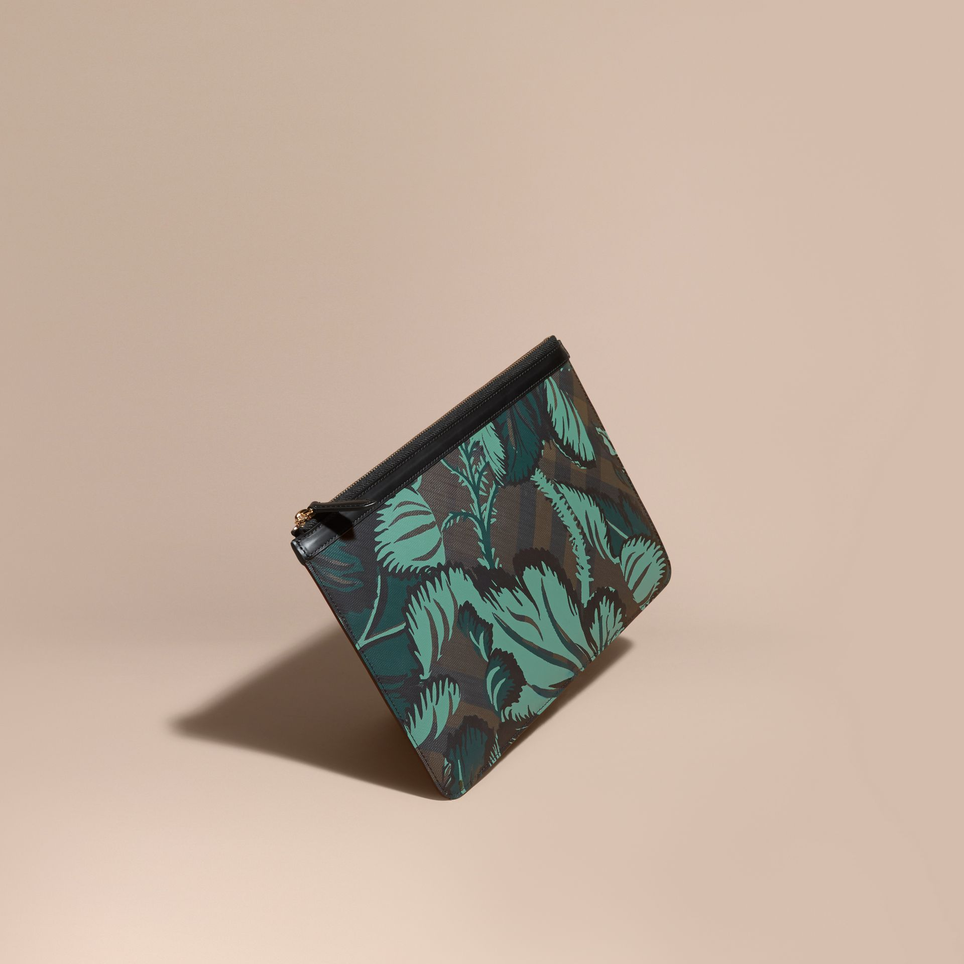 Floral Print London Check Pouch Chocolate - gallery image 1