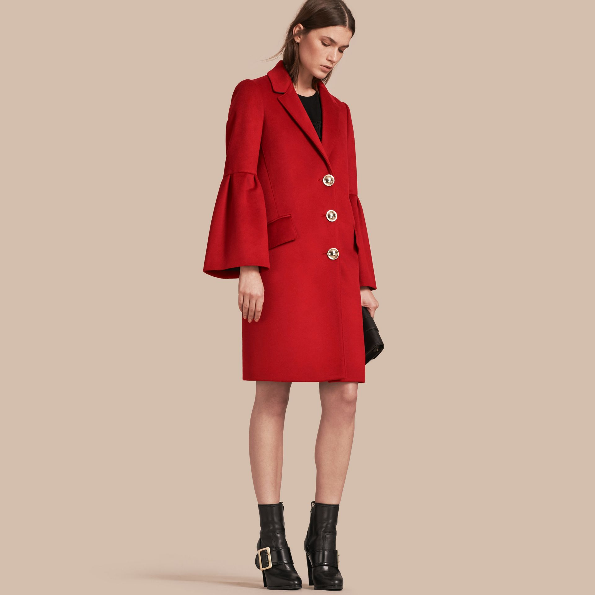 Parade red Tailored Wool Cashmere Coat with Bell Sleeves Parade - gallery image 1