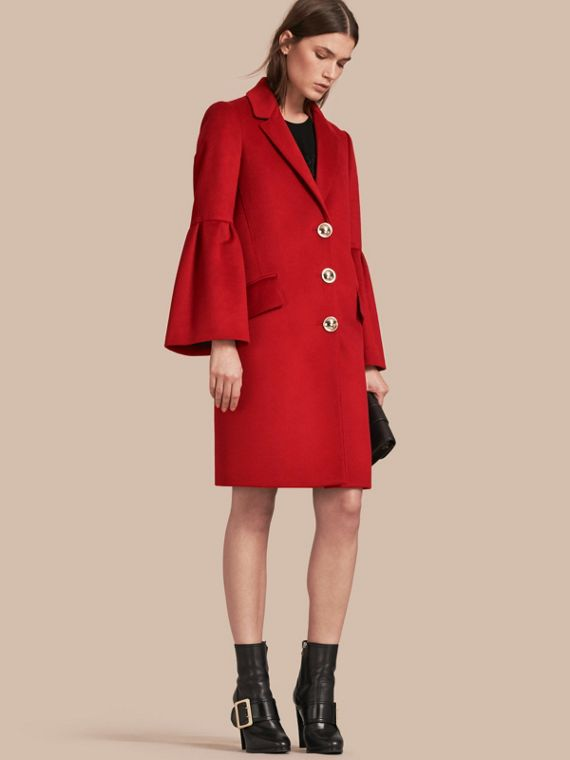 Tailored Wool Cashmere Coat with Bell Sleeves in Parade Red