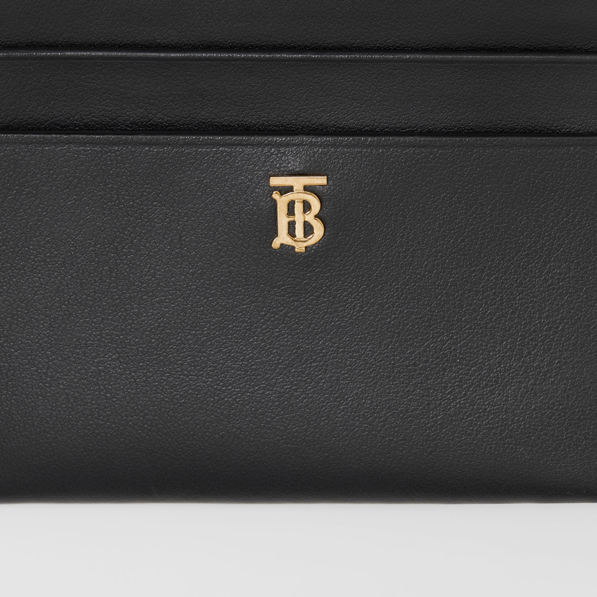Monogram Motif Leather Zip Card Case in Black - Women | Burberry United States - gallery image 1