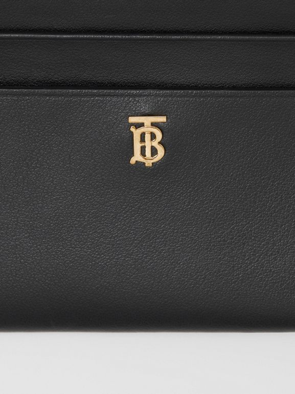 Monogram Motif Leather Zip Card Case in Black - Women | Burberry United States - cell image 1