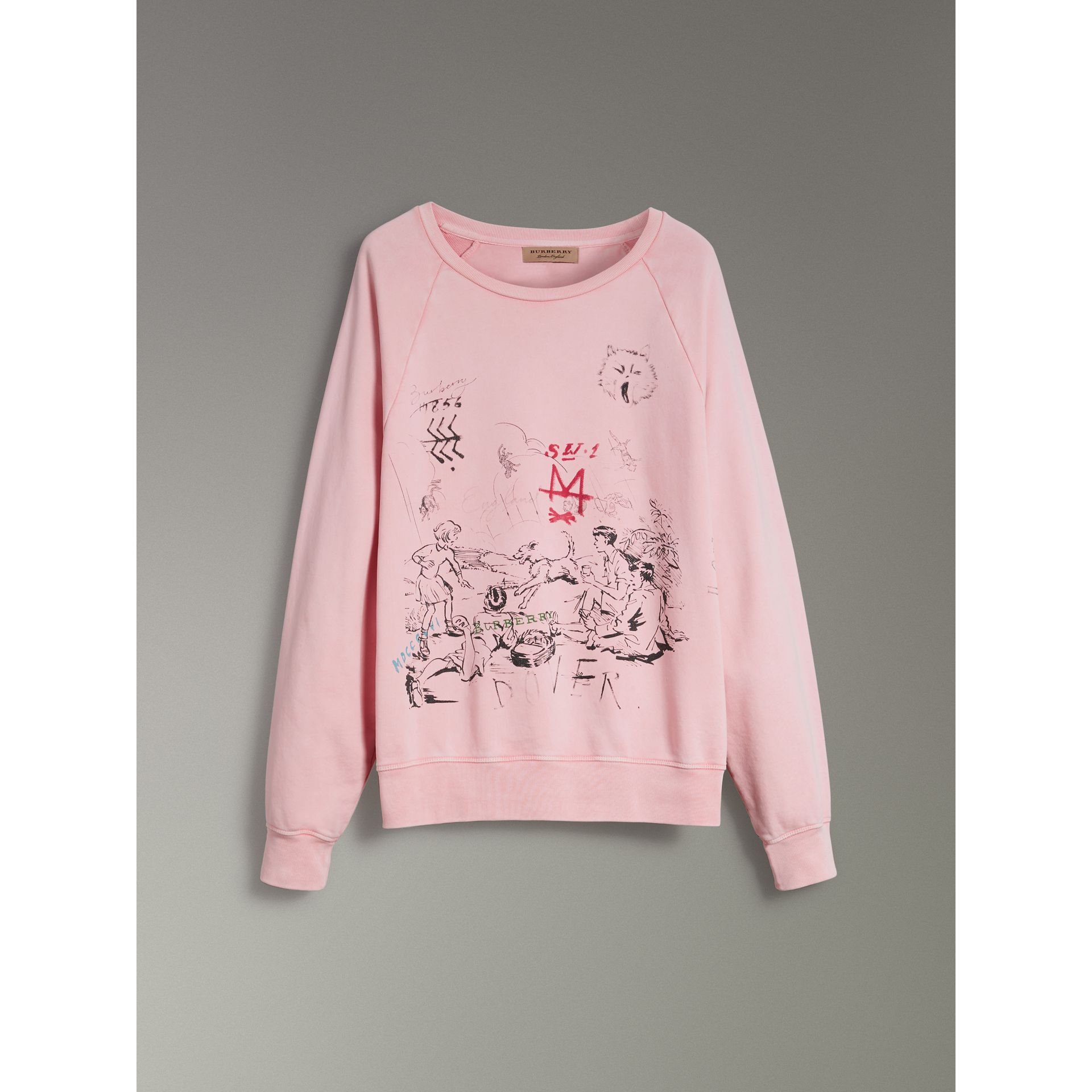 Adventure Print Cotton Sweatshirt in Light Pink - Men | Burberry - gallery image 3