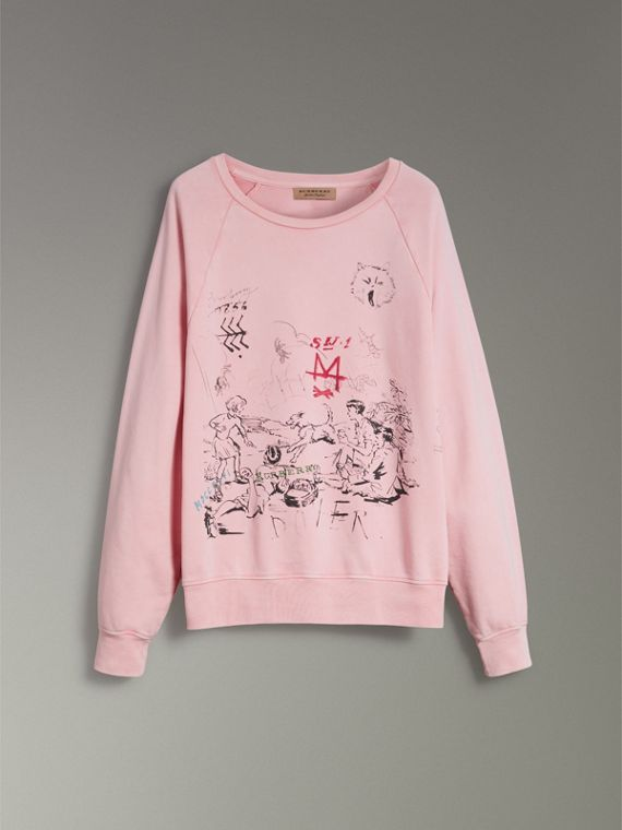 Adventure Print Cotton Sweatshirt in Light Pink - Men | Burberry - cell image 3