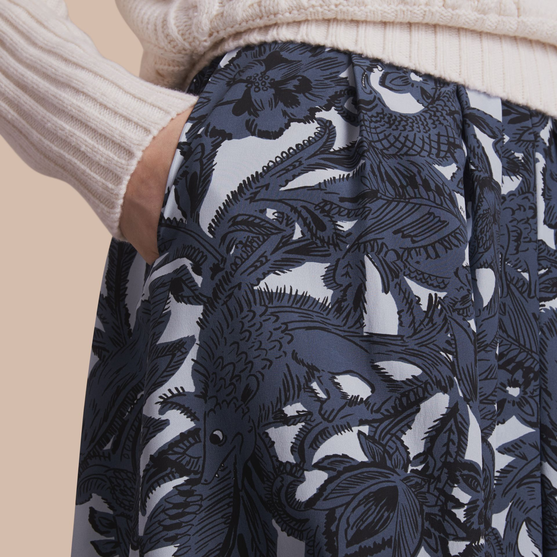 Beasts Print Silk Skirt in Stone Blue - Women | Burberry - gallery image 4