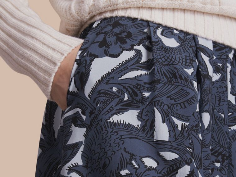 Beasts Print Silk Skirt in Stone Blue - Women | Burberry - cell image 4