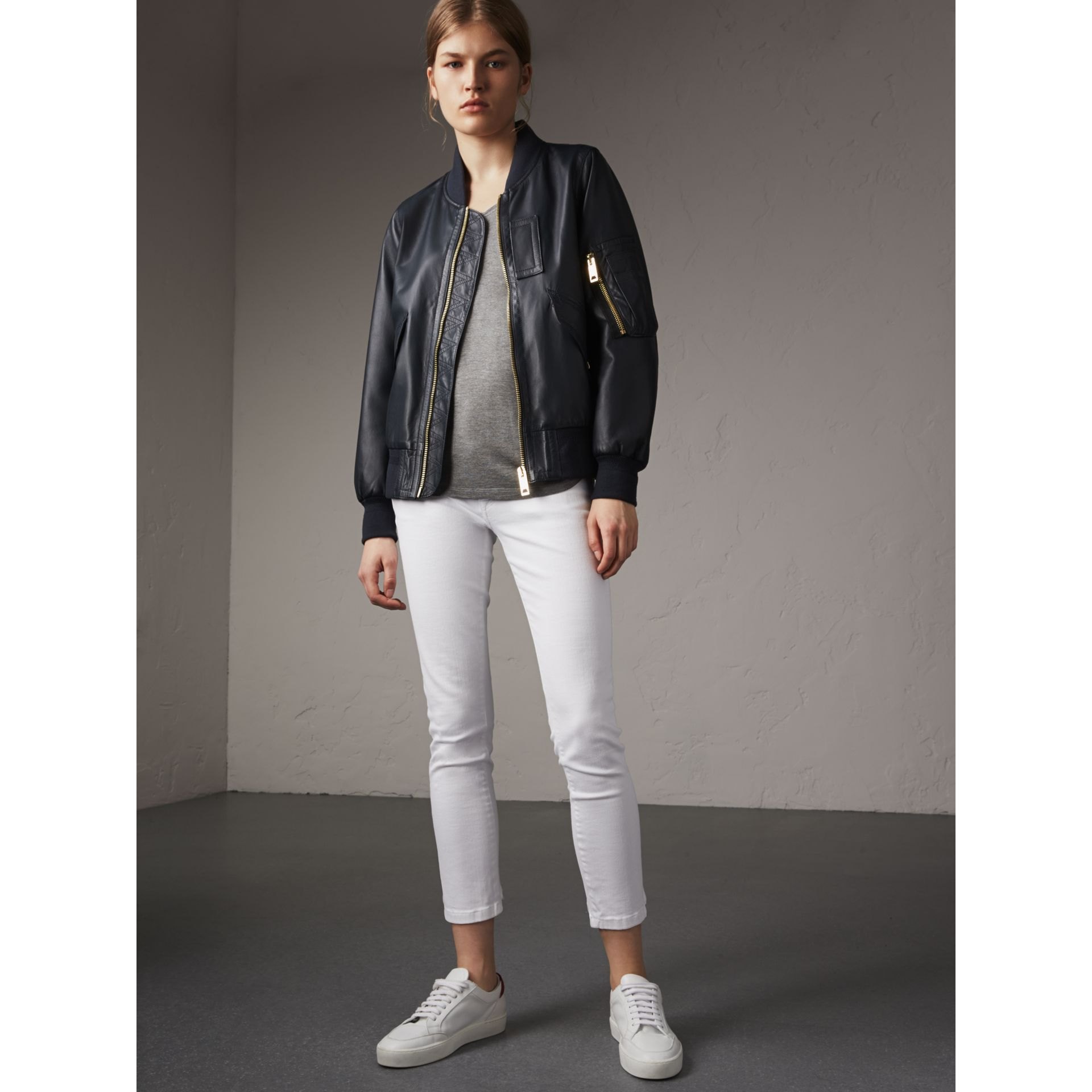 Lightweight Lambskin Bomber Jacket in Navy - Women | Burberry - gallery image 5