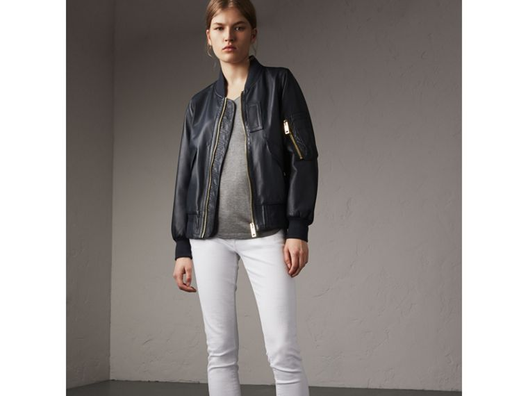 Lightweight Lambskin Bomber Jacket in Navy - Women | Burberry - cell image 4