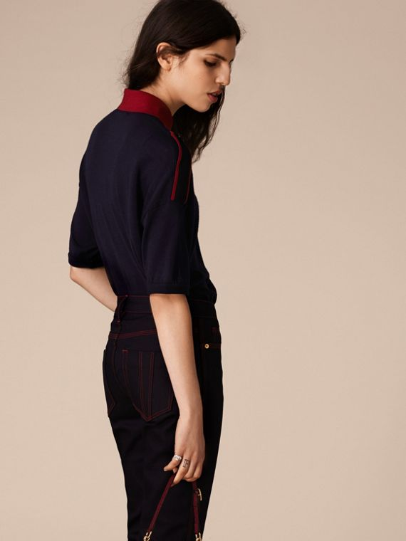 Navy/red Epaulette Detail Wool Polo Shirt - cell image 3
