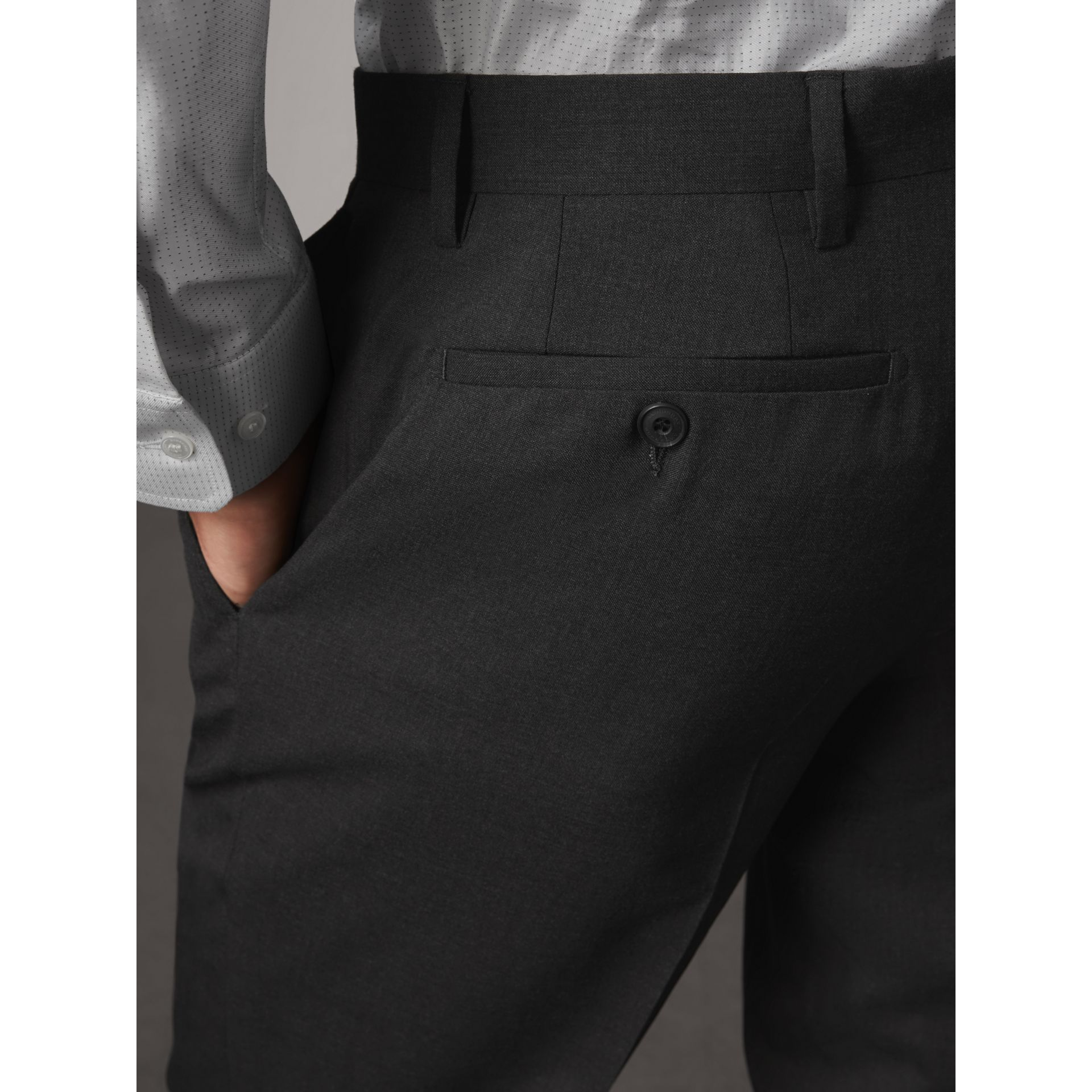 Modern Fit Wool Trousers in Charcoal - Men | Burberry Singapore - gallery image 5