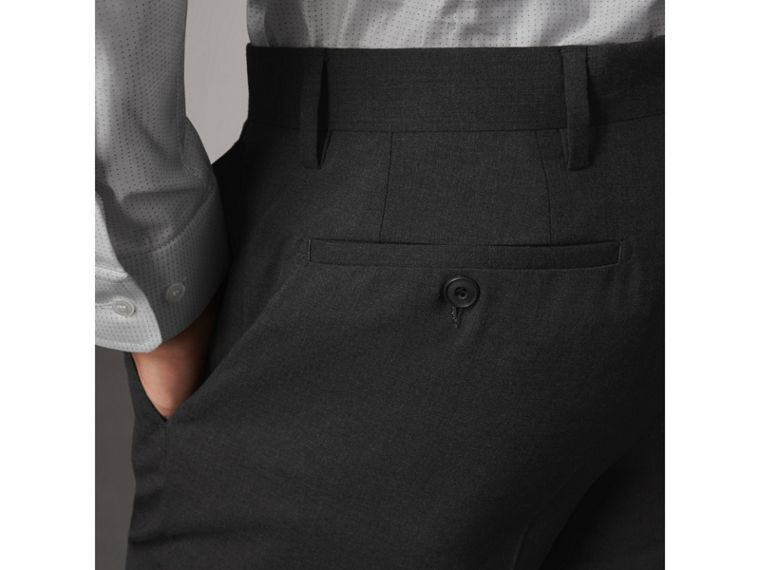 Modern Fit Wool Trousers in Charcoal - Men | Burberry - cell image 4