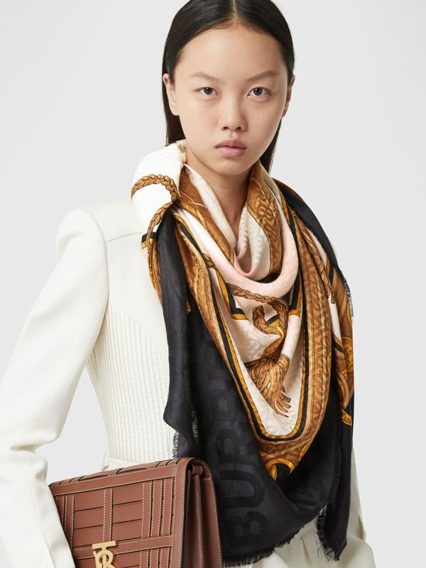 Archive Scarf Print Silk Wool Large Square Scarf in Blush | Burberry - cell image 2
