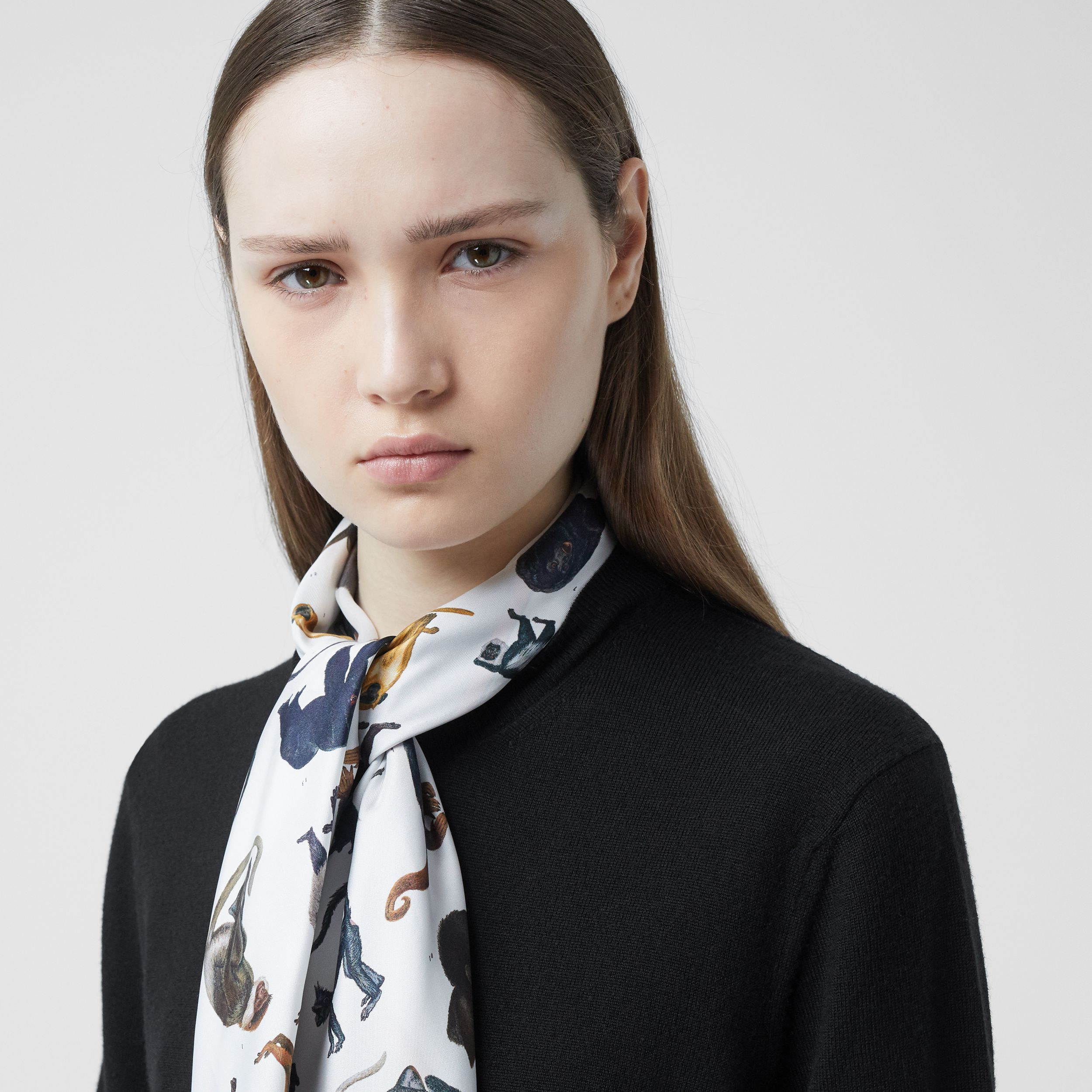Monkey Print Scarf Detail Merino Wool Cardigan in Black - Women | Burberry Canada - 2