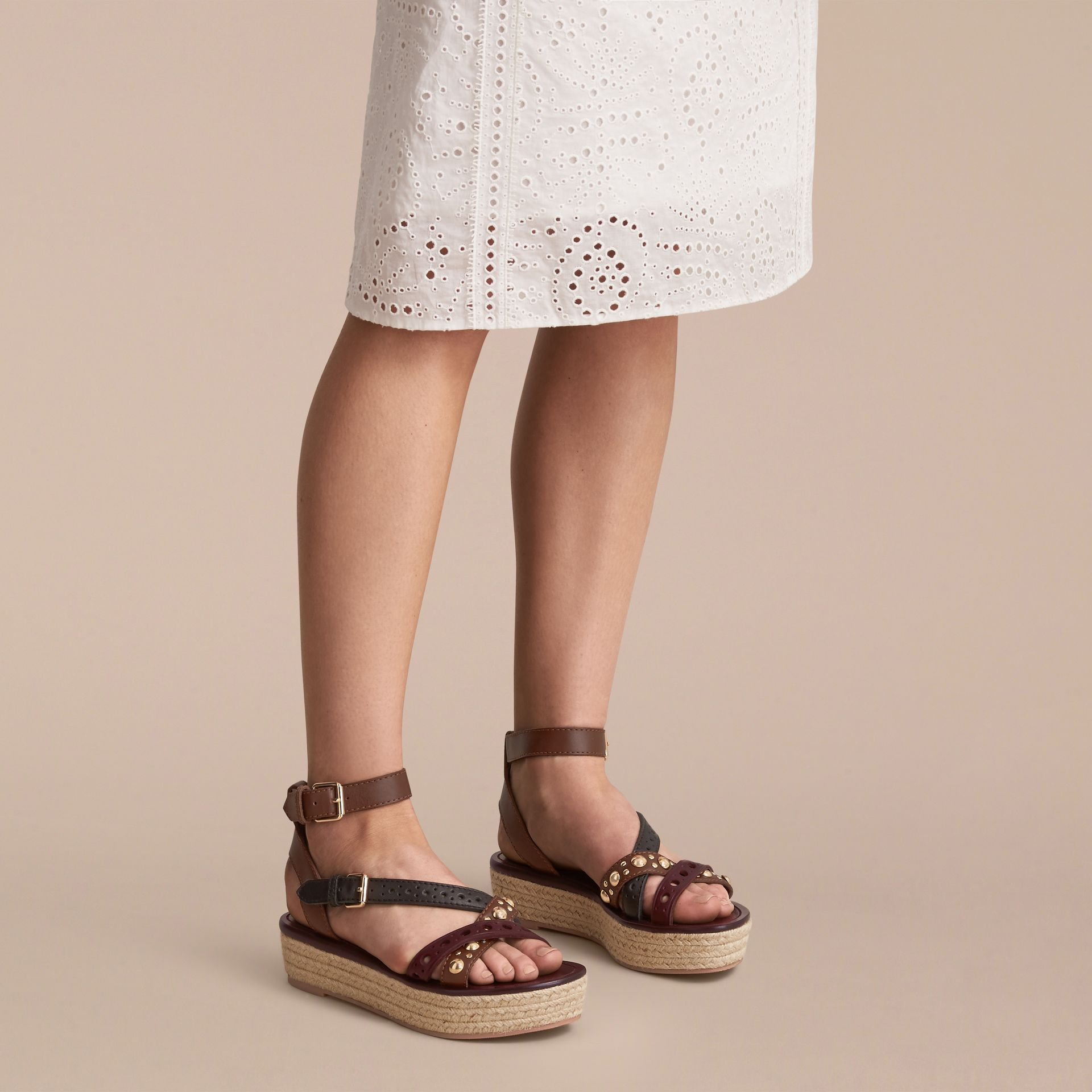 Two-tone Riveted Leather Espadrille Sandals - gallery image 3