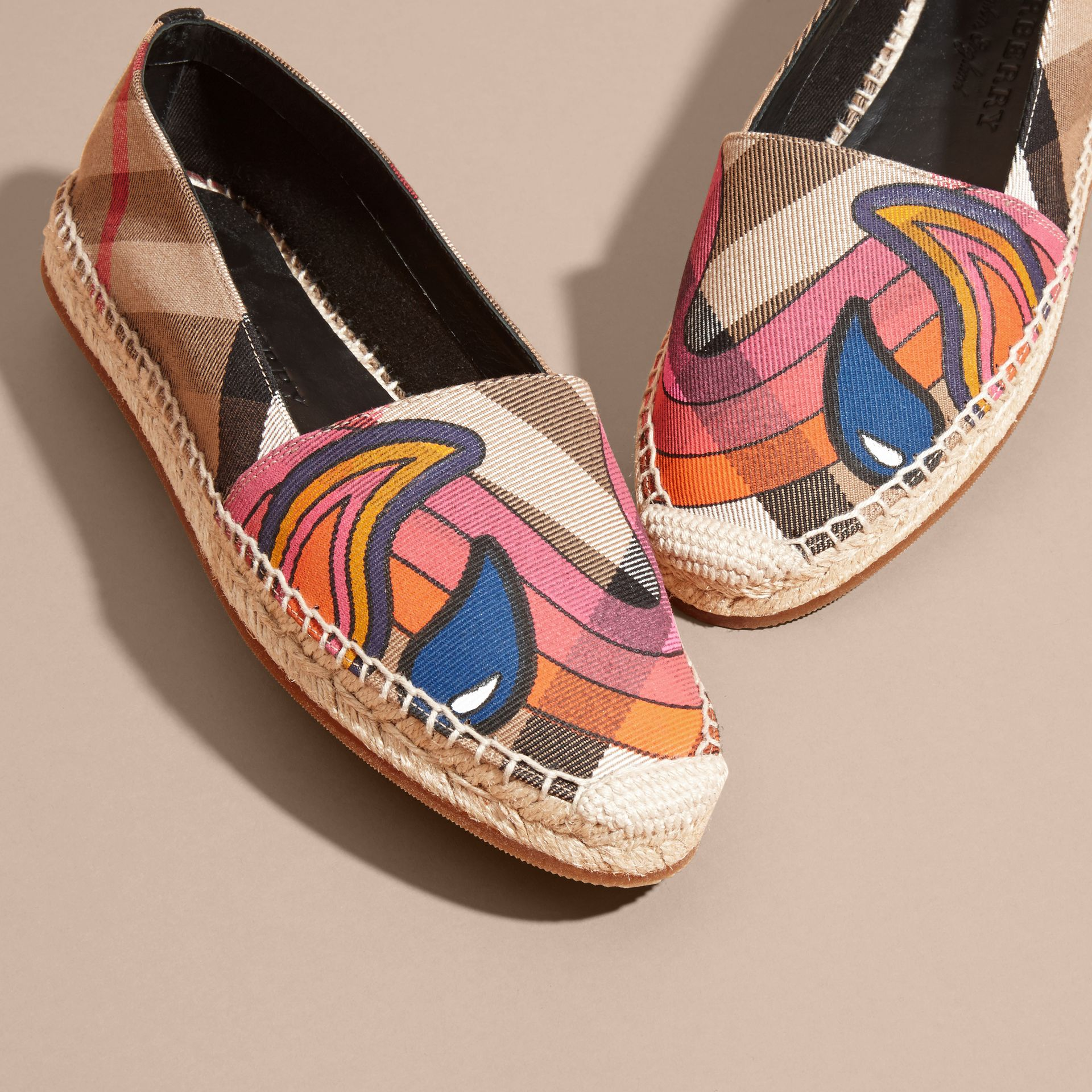 Rainbow Graphic Print Canvas and Suede Check Espadrilles - gallery image 3