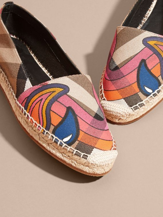 Rainbow Graphic Print Canvas and Suede Check Espadrilles - cell image 2