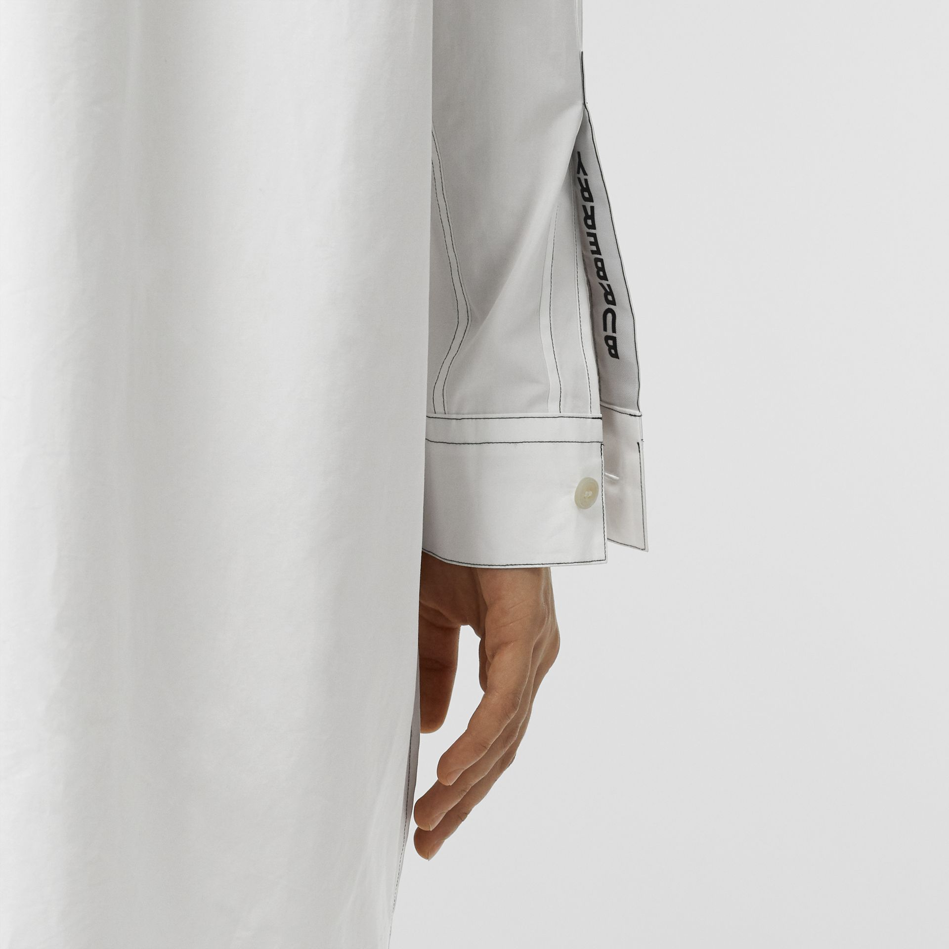 Topstitch Detail Cotton Poplin Shirt Dress in White - Women | Burberry - gallery image 5